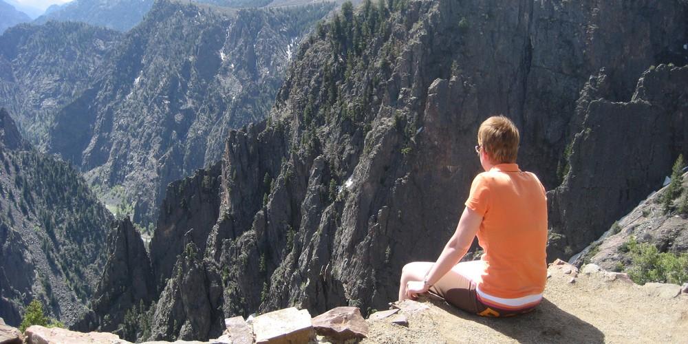 De grootsheid van de Black Canyon zie je zo heel goed.