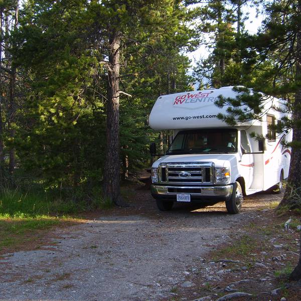 David Thompson Resort, bosrijke camperplaats