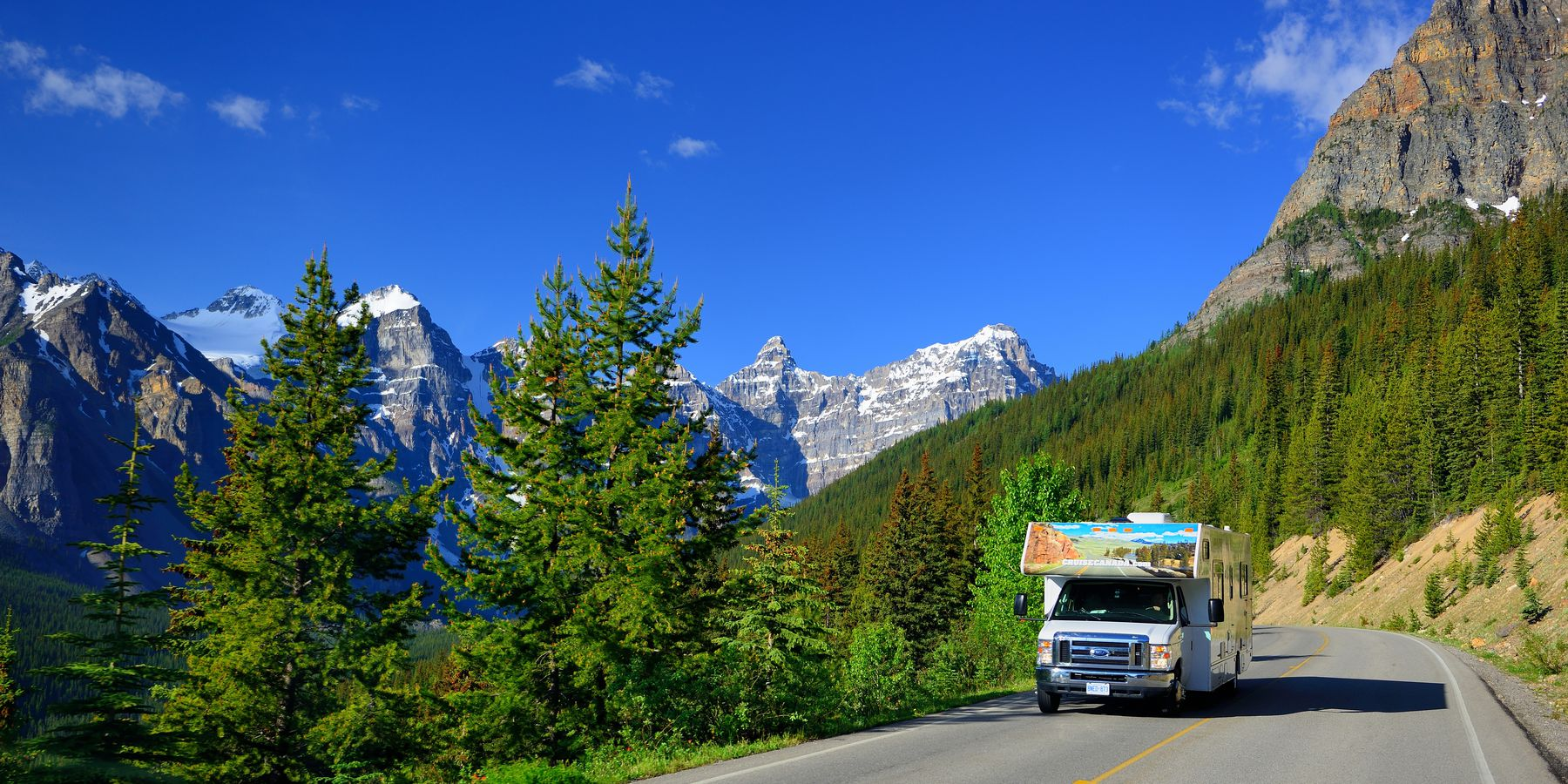 Met de camper toeren over de Moraine Lake Road
