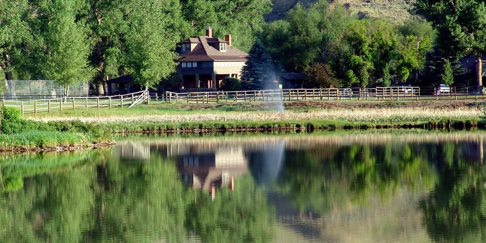 Ranch gebouw van Ranch at Ucross Wyoming.
