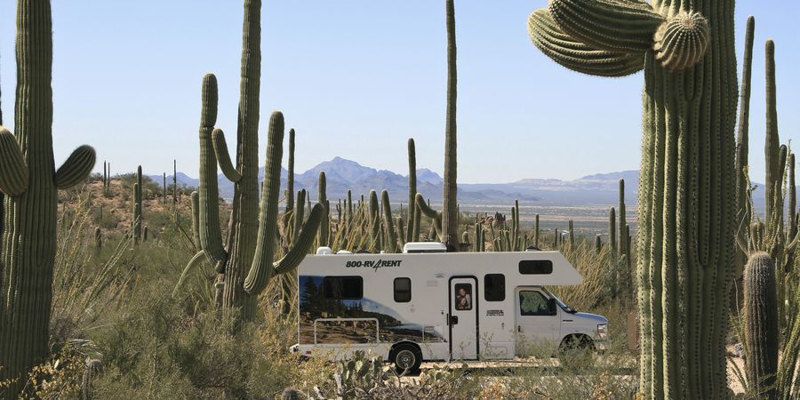 Cruise America Camper in Saguaro NP Arizona