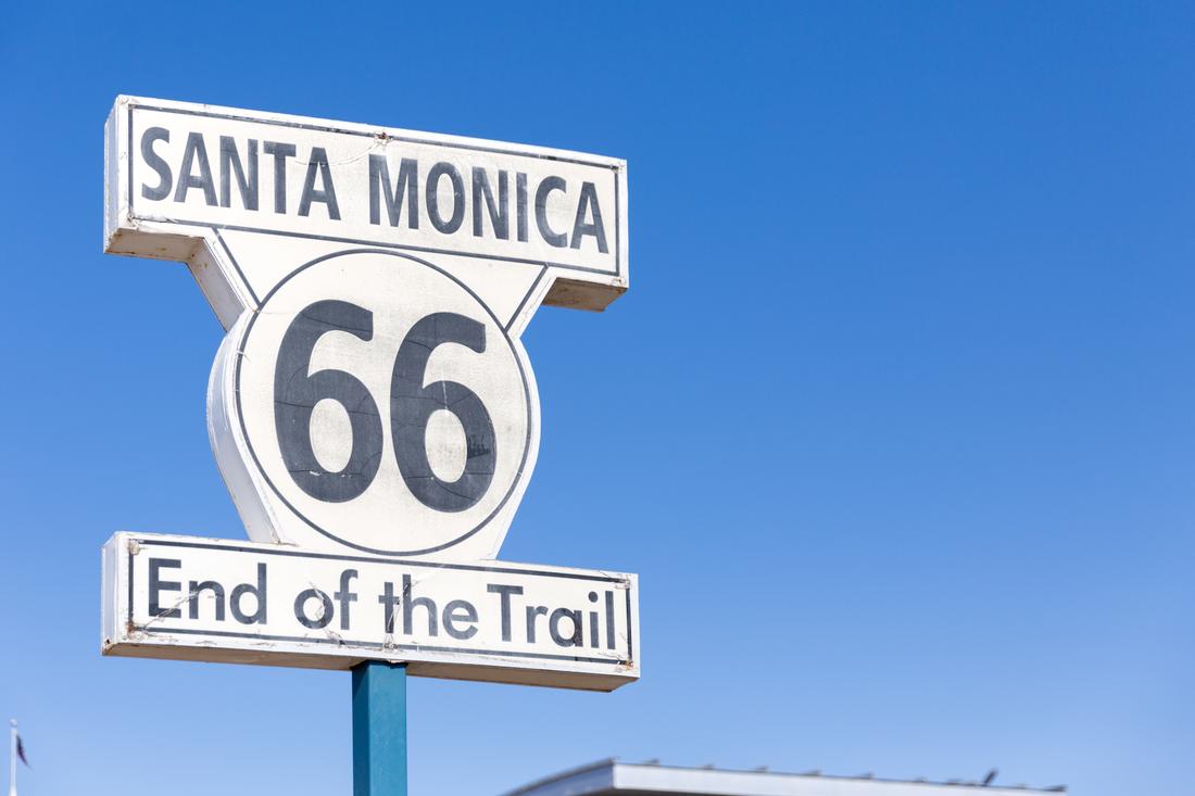 Het eindpunt van de Route 66 in Santa Monica
