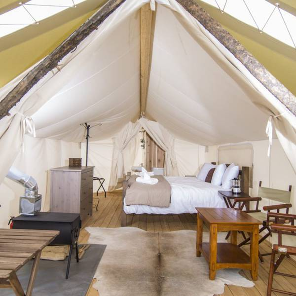 Under Canvas Moab - deluxe tent interior