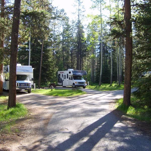 Whistlers Campground, bosrijke camperplaatsen